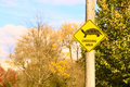 Crossing area yellow sign in a park zone Stock Photography