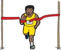 Crossing the finish line long distance runner ribbon Royalty Free Stock Image
