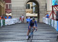 Crossing finish line sibiu romania july sibiu cycling tour the prologue in sibiu city centre cyclist the white Royalty Free Stock Image