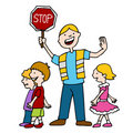Crossing Guard and Children Walking Royalty Free Stock Image