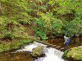 Woman Walking Over Stepping Stones Across River Royalty Free Stock Photo