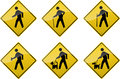 Crossing signs six yellow diamond shaped showing symbols of various people Stock Photo