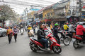 Crossing the streets of Hanoi Royalty Free Stock Photo