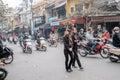 Crossing the streets of Hanoi Royalty Free Stock Photo