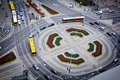 Crossroad in warsaw with tramways Royalty Free Stock Photo