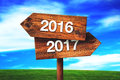 2016 and 2017 crossroads direction signs Royalty Free Stock Photo