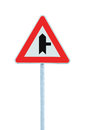 Crossroads Warning Main Road Sign Right Hand, Roadside Traffic Signage Pole Post, Large Dedaitel Isolated Closeup