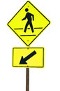 Crosswalk sign with a man walking on yellow flash isolated on white background Stock Images