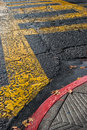 Crosswalk street corner after a rain Stock Photos