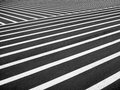 Crosswalk a very large designated black and white striped pedestrian area Royalty Free Stock Photo