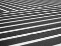 Crosswalk a very large designated black and white striped pedestrian area Stock Image