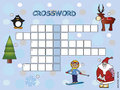 Crossword game children winter Stock Photos