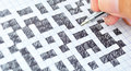 Crossword puzzle close up with hand written Stock Images