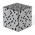 Crossword puzzle cube isolated on white background. 3D illustration Royalty Free Stock Photo