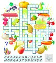 Crossword puzzle game with food. Educational page for children for study English words. Royalty Free Stock Photo