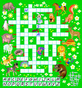 Crossword puzzle game with funny animals. Educational page for children for study English words.