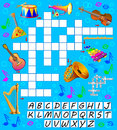 Crossword puzzle game with musical instruments. Educational page for children for study English words.