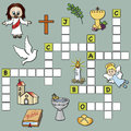 Crossword religion easy game for children Stock Photo