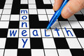 Crossword - wealth and money Royalty Free Stock Photo