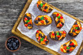 Crostini with pieces of fish stewed in tomato sauce Royalty Free Stock Photo