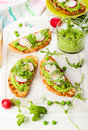 Crostini with sping vegetables Stock Image