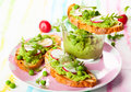 Crostini with spring vegetables Stock Photo