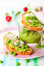 Crostini with spring vegetables Royalty Free Stock Image