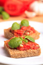 Crostini with tomato Royalty Free Stock Images