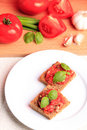 Crostini with tomato Stock Image