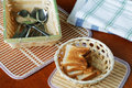 Croutons in a basket and cutlery Royalty Free Stock Photo