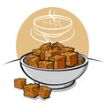 Croutons rye at the dish Stock Images