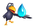 Crow cartoon character with water drop