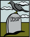 Crow in a cemetery vector illustration Royalty Free Stock Photo