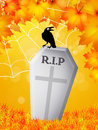 Crow on grave of halloween in the cemetery Royalty Free Stock Photography