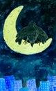 Crow on moon Royalty Free Stock Photo