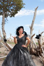 The crow wisperer a beautiful black haired women in a black wedding gown with crows Royalty Free Stock Image