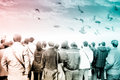Crowd audience back view freedom with doves and sky concept Royalty Free Stock Image