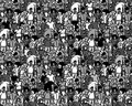 Crowd big group people seamless pattern black and white. Royalty Free Stock Photo