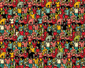 Crowd big group people seamless pattern. Royalty Free Stock Photo