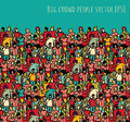 Crowd big group people seamless pattern and sky.