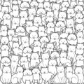 A crowd of cats in doodle style on white background. Vector of illustration different cats.