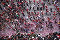 Crowd Celebrates at Chicago Blackhawks' Parade Stock Photos