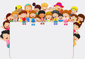 Crowd children cartoon with blank sign Royalty Free Stock Photo