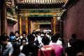 Crowd of chinese people crowds at a passageway in the forbidden city in beijing china Royalty Free Stock Images
