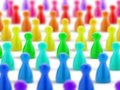 Crowd of colored pawns community multicolored on white background Stock Photo