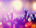 Crowd in concert excitement of with light Stock Photos