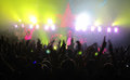 Crowd in concert thievery corporation belgrade expo center black singer with white hat Royalty Free Stock Photo
