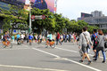 Crowd cross the street diagonally at center street view of taipei you can some crossroads city taiwan Royalty Free Stock Photo