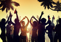 Crowd Dancing by the Beach Royalty Free Stock Photo