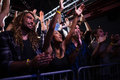 Crowd dancing and enjoying a rock concert Royalty Free Stock Photo